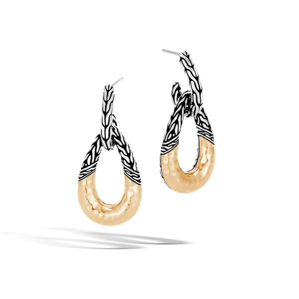 John Hardy Classic Chain Hammered Door Knocker Earrings Rolland's Jewelers Libertyville, IL