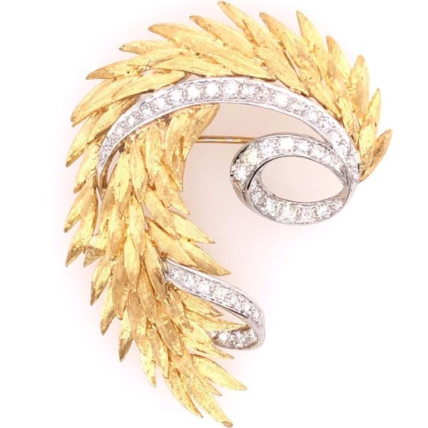 Estate 18K Two-Tone Diamond Feather Pin Rolland's Jewelers Libertyville, IL