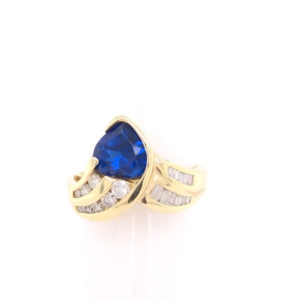 Estate 14K Yellow Gold Sapphire & Diamond Ring Rolland's Jewelers Libertyville, IL