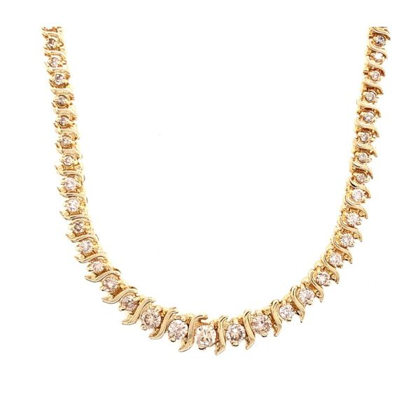 Estate 14K Yellow Gold Diamond Tennis Necklace Rolland's Jewelers Libertyville, IL