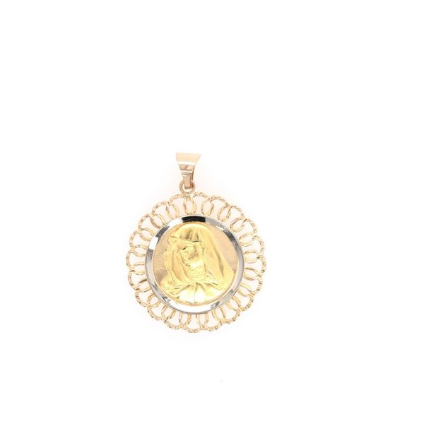 Estate 18K Two Tone Religious Medal Rolland's Jewelers Libertyville, IL