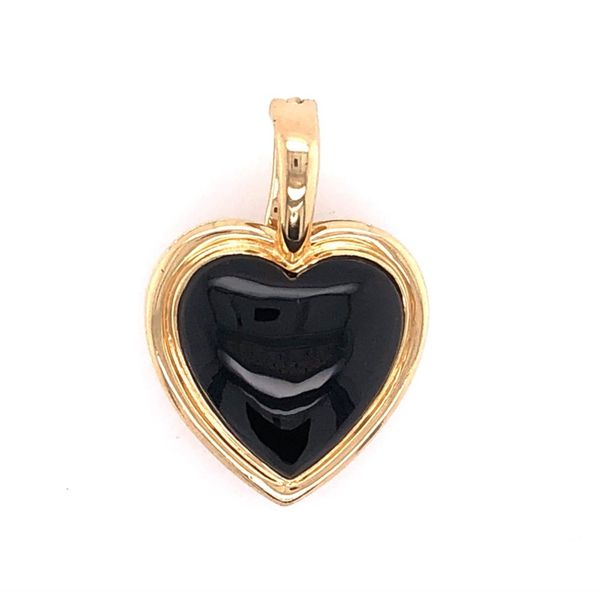 Estate 14K Yellow Gold Black Onyx Heart Pendant Rolland's Jewelers Libertyville, IL