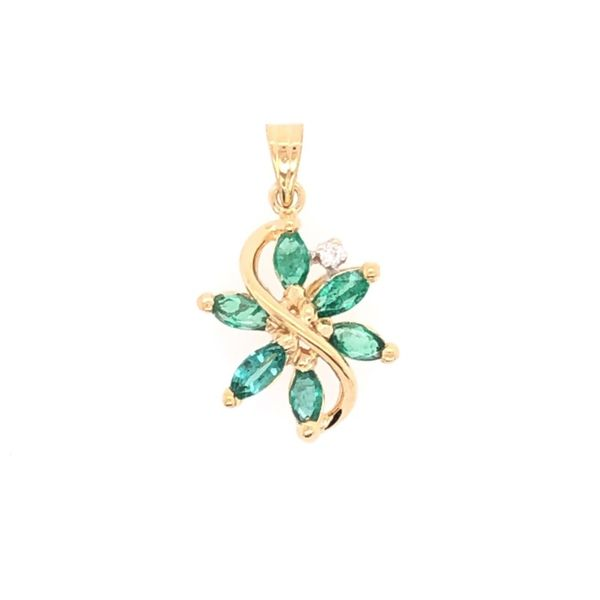 Estate 14K Yellow Gold Emerald & Diamond Pendant Rolland's Jewelers Libertyville, IL
