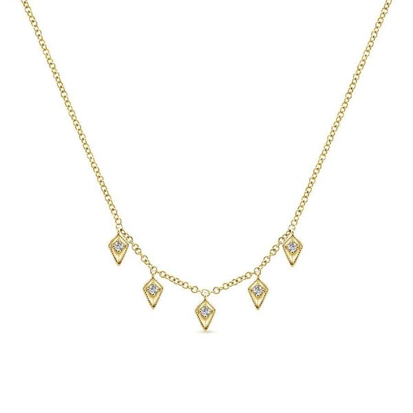 14KY Kite Shaped Drops Station Necklace with Diamonds Ross Elliott Jewelers Terre Haute, IN