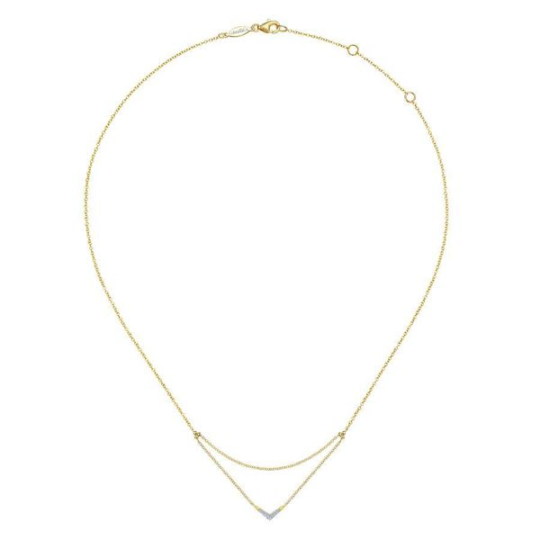 14K Yellow Gold Pave Diamond Layered Chain V Necklace Image 2 Ross Elliott Jewelers Terre Haute, IN