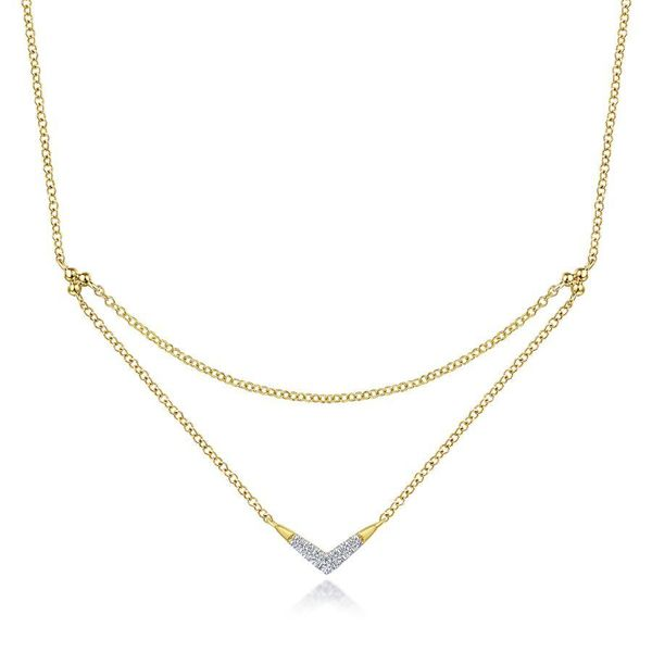 14K Yellow Gold Pave Diamond Layered Chain V Necklace Ross Elliott Jewelers Terre Haute, IN