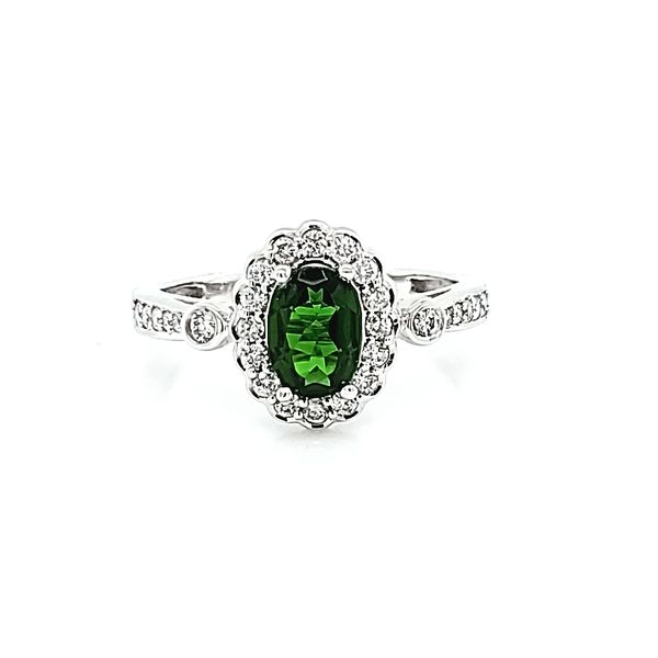 Oval Russalite Chrome Diopside and Diamond Ring Image 2 Ross Elliott Jewelers Terre Haute, IN