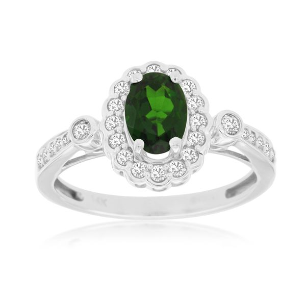 Oval Russalite Chrome Diopside and Diamond Ring Ross Elliott Jewelers Terre Haute, IN