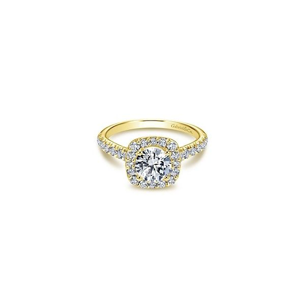 Yellow Gold Halo Diamond Engagement Ring Sam Dial Jewelers Pullman, WA
