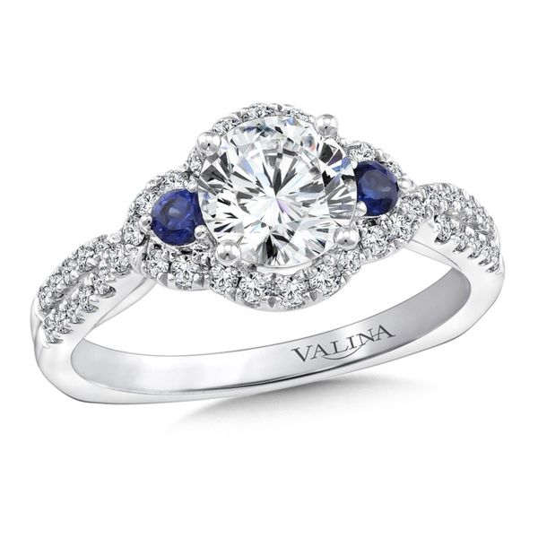 Diamond and Sapphire Halo Engagement Ring Sam Dial Jewelers Pullman, WA
