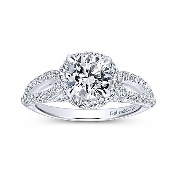 Split Shank Halo Engagement Ring Sam Dial Jewelers Pullman, WA