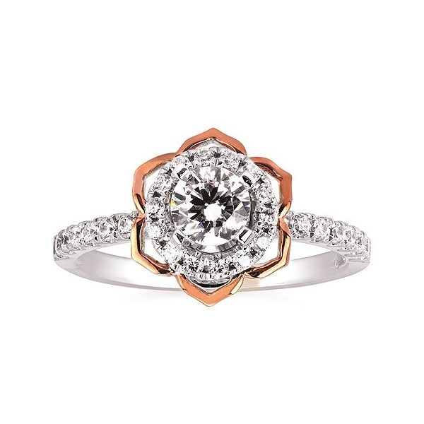 Rose Flower Halo Ring Sam Dial Jewelers Pullman, WA