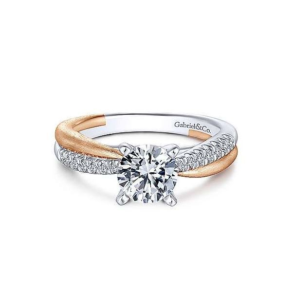 White and Rose Gold Diamond Engagement Ring Sam Dial Jewelers Pullman, WA