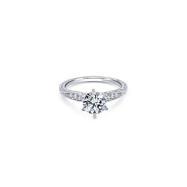 White Gold Millgrain Engagement Ring Sam Dial Jewelers Pullman, WA
