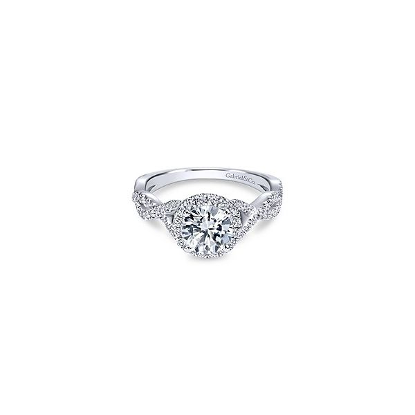 DIAMOND HALO TWIST SPLIT-SHANK ENGAGEMENT RING Sam Dial Jewelers Pullman, WA