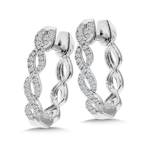 DIAMOND WHITE GOLD CRISS CROSS HOOP EARRINGS Sam Dial Jewelers Pullman, WA