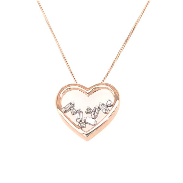 ROSE GOLD HEART BAGUETTE DIAMOND PENDANT Sam Dial Jewelers Pullman, WA
