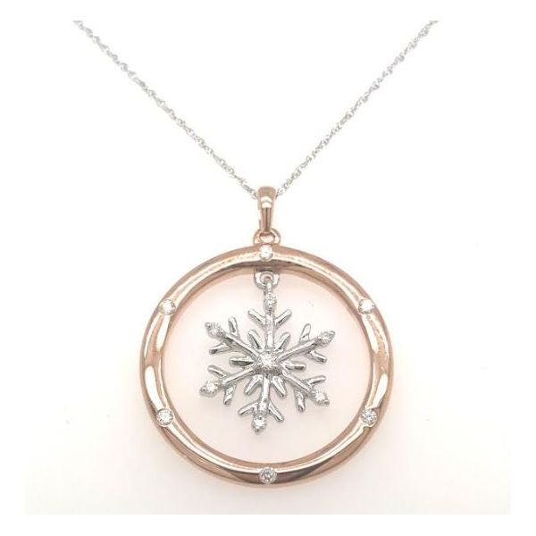 DIAMOND SNOWFLAKE TWO-TONED GOLD NECKLACE Sam Dial Jewelers Pullman, WA