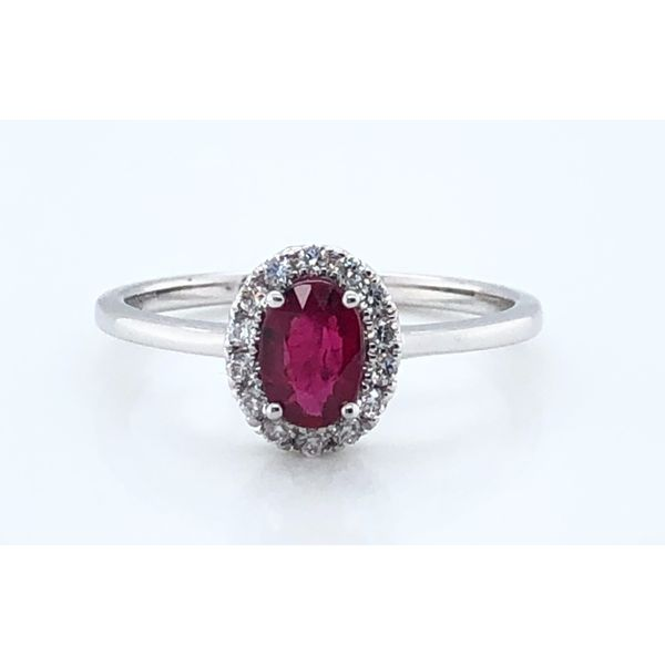 OVAL RUBY RING WITH DIAMOND HALO Sam Dial Jewelers Pullman, WA