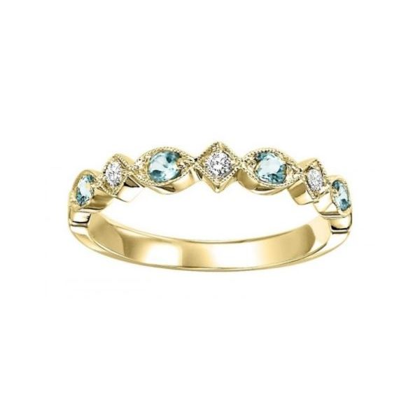 YELLOW GOLD DIAMOND AND BLUE TOPAZ STACKABLE RING Sam Dial Jewelers Pullman, WA