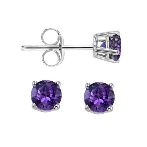 5MM AMETHYST STUDS IN WHITE GOLD Sam Dial Jewelers Pullman, WA