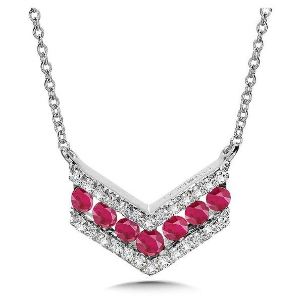 CHEVRON RUBY DIAMOND PENDANT Sam Dial Jewelers Pullman, WA