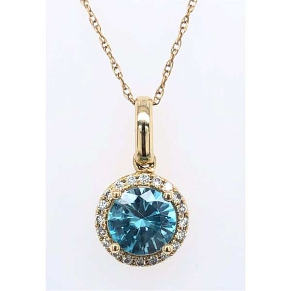BLUE ZIRCON PENDANT WITH DIAMOND HALO Sam Dial Jewelers Pullman, WA