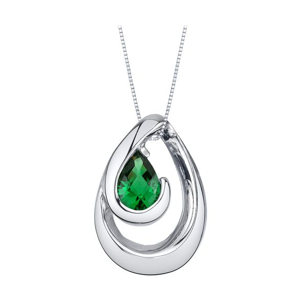 STERLING SILVER 7X5 PEAR-SHAPED LAB EMERALD PENDANT Sam Dial Jewelers Pullman, WA