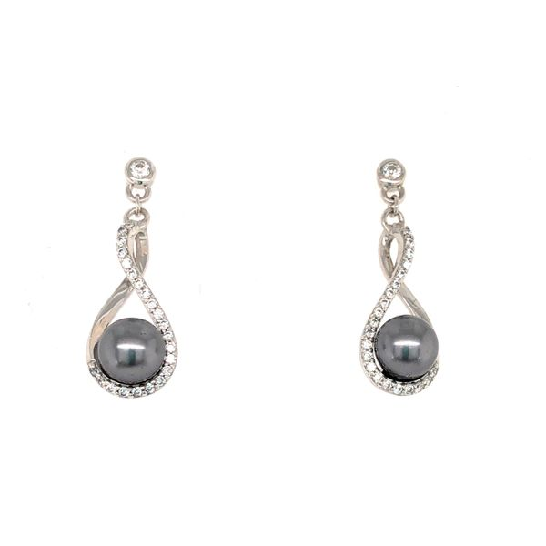 SILVER SHELL PEARL/CZ DROP EARRINGS Sam Dial Jewelers Pullman, WA