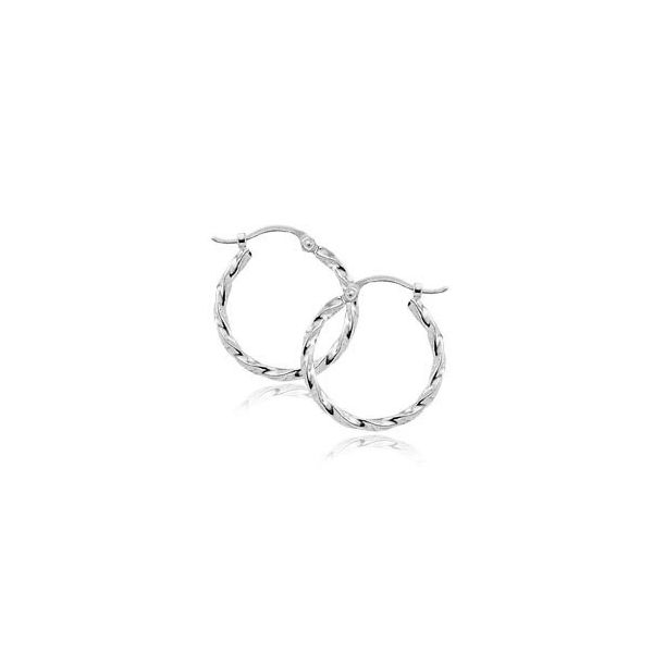 White Gold Twisted Hoops Sam Dial Jewelers Pullman, WA