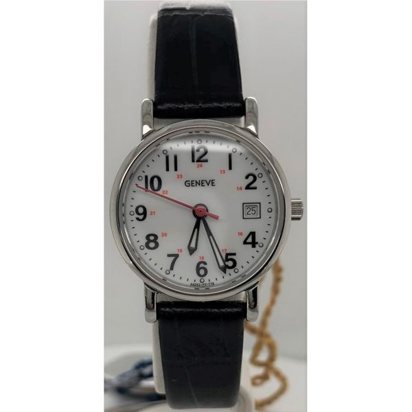 Swiss Movement White Face Black Leather Mens Watch Sam Dial Jewelers Pullman, WA