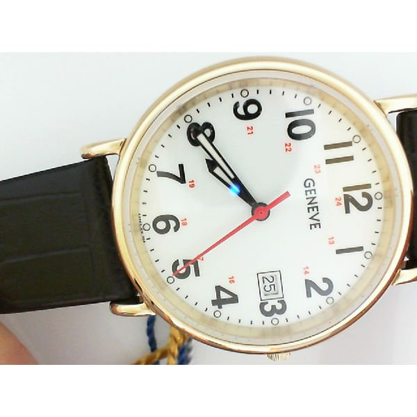 Swiss Quartz Movement Gold Toned Bezel Watch with Leather Band Sam Dial Jewelers Pullman, WA
