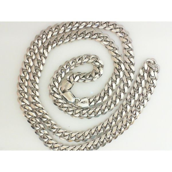 ITALIAN STERLING RHOD-PLATED CURB CHAIN 24