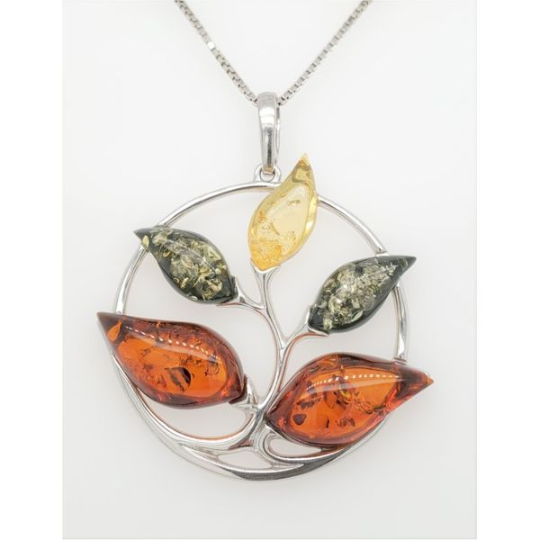 5-LEAF TREE BALTIC AMBER SILVER NECKLACE Sam Dial Jewelers Pullman, WA