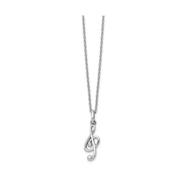 STERLING SILVER TREBLE CLEF PENDANT NECKLACE Sam Dial Jewelers Pullman, WA