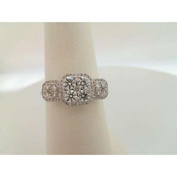 14kt White Gold Diamond Halo Ring Sanders Diamond Jewelers Pasadena, MD