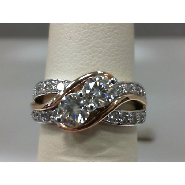 14kt White and Rose Gold 1.02Ctdw Round Diamond Two Stone Ring Sanders Diamond Jewelers Pasadena, MD