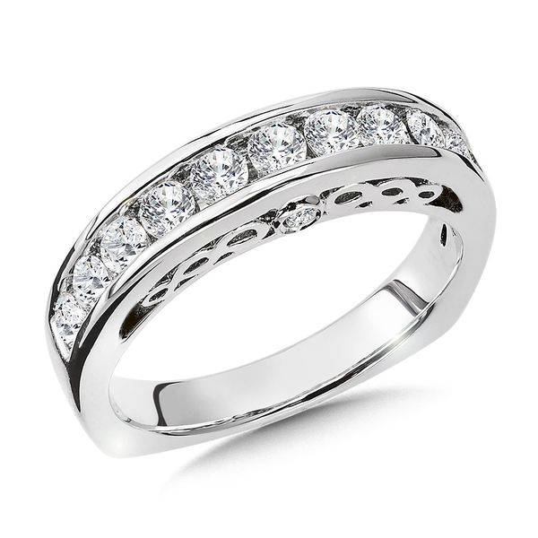 14kt White Gold Round 0.74CTW Diamond Channel Set Band Sanders Diamond Jewelers Pasadena, MD