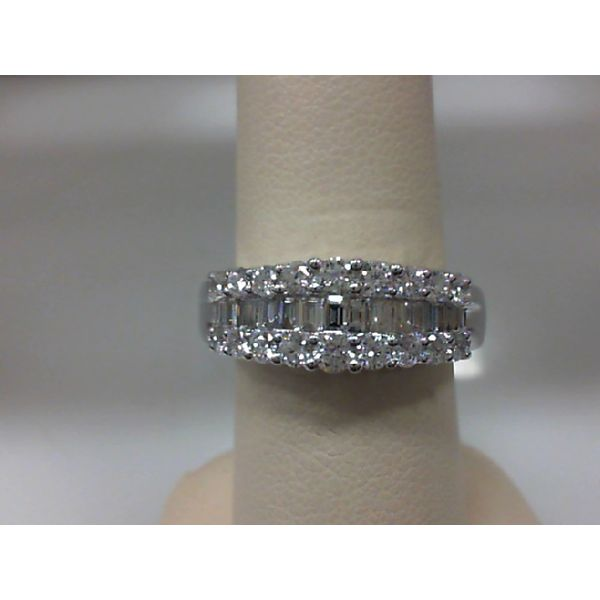 14kt White Gold 1.00ctdw Round and Baguette Diamond Multi Row Ring Sanders Diamond Jewelers Pasadena, MD