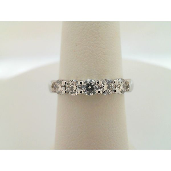 14kt White Gold 0.75ctw Five Round Diamond Wedding Ring Sanders Diamond Jewelers Pasadena, MD