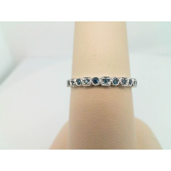 10kt White Gold Treated Blue Diamond Stackable Ring Sanders Diamond Jewelers Pasadena, MD