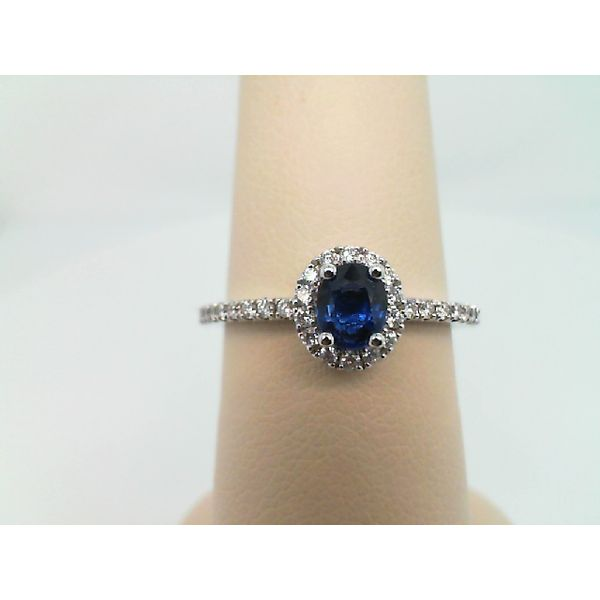 14kt White Gold Diamond and Oval Blue Sapphire Ring Sanders Diamond Jewelers Pasadena, MD