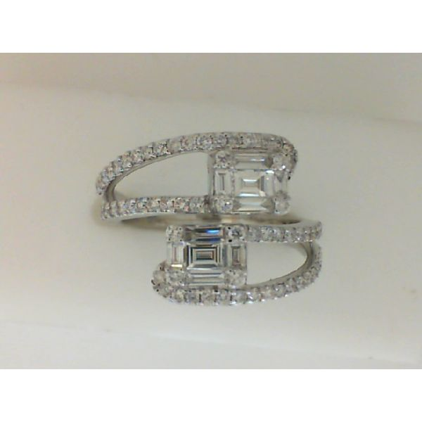 14kt White Gold Baguette and Round Diamond Bypass Ring Sanders Diamond Jewelers Pasadena, MD