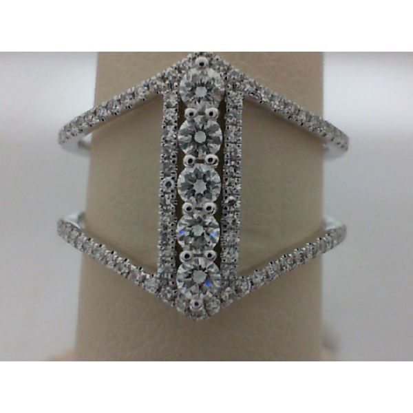 14kt White Gold Round Diamond Open Shank Fashion Ring Sanders Diamond Jewelers Pasadena, MD