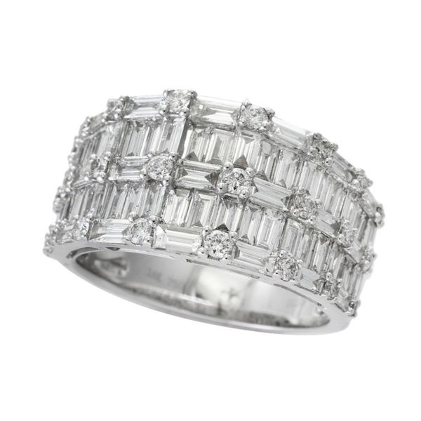 14kt White Gold Round and Baguette Diamond Ring Sanders Diamond Jewelers Pasadena, MD