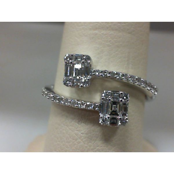 14kt White Gold Round and Baguette Diamond Bypass Ring Sanders Diamond Jewelers Pasadena, MD