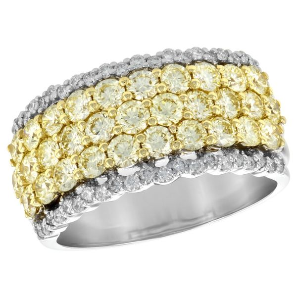 14kt White and Yellow Gold Fancy Yellow and White Diamond Wide Band Sanders Diamond Jewelers Pasadena, MD