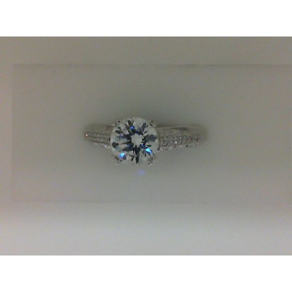 14kt White Gold Engraved Cathedral Diamond Semi Mounting Ring Sanders Diamond Jewelers Pasadena, MD