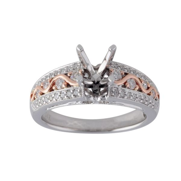 14kt White Gold 0.33ctdw Round Diamond Semi Mount Ring with Inner Changeable Head Sanders Diamond Jewelers Pasadena, MD
