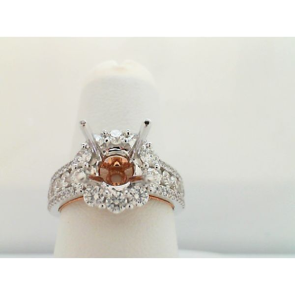 14KT WHITE AND ROSE GOLD SEMI MOUNTING RING FOR 1.25CT ROUND CENTER STONE Sanders Diamond Jewelers Pasadena, MD